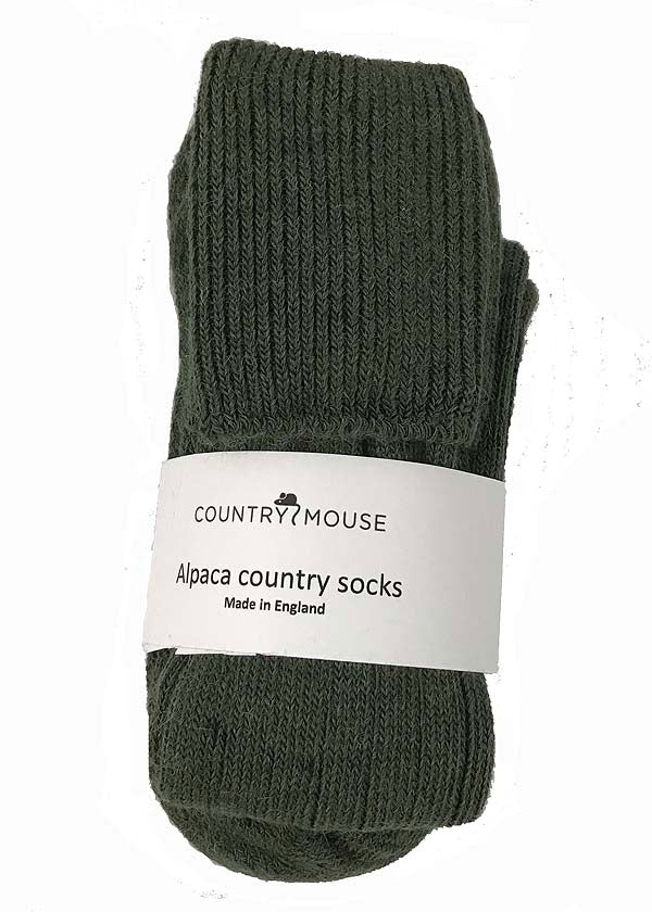 Green alpaca country socks