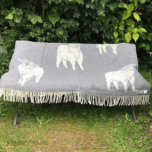 Load image into Gallery viewer, J.J. Textiles Highland Cow Grey open
