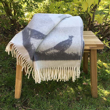 Load image into Gallery viewer, J.J. Textiles grey pheasant wool throw