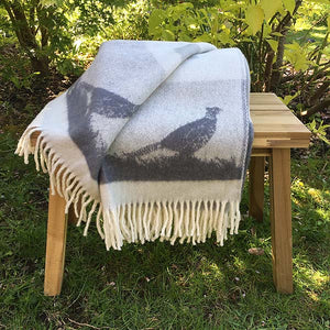 JJ Textiles grey pheasant wool throw folded reverse