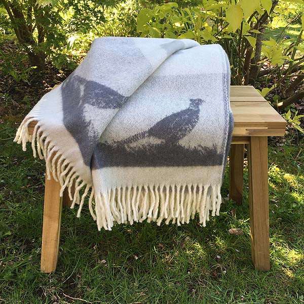 J.J. Textiles grey pheasant wool throw