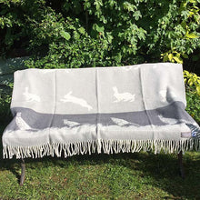 Load image into Gallery viewer, JJ Textiles grey pheasant wool throw open