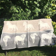 Load image into Gallery viewer, JJ Textiles grey and taupe pony blanket open