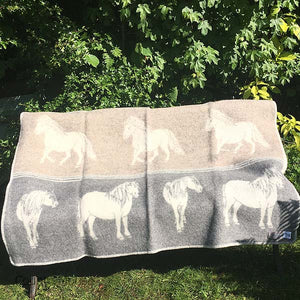 JJ Textiles grey and taupe pony blanket open