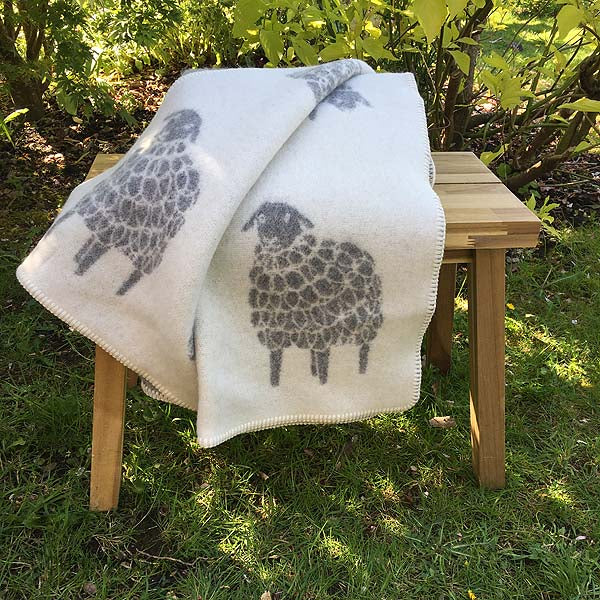 JJ Textiles Mima Sheep Wool Blanket folded showing reverse