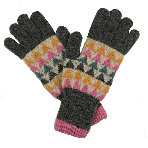 Multi coloured triangles merino lambswool gloves