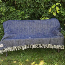 Load image into Gallery viewer, Navy Pure New Wool Herringbone Throw open