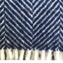 Load image into Gallery viewer, Navy Pure New Wool Herringbone Throw detail