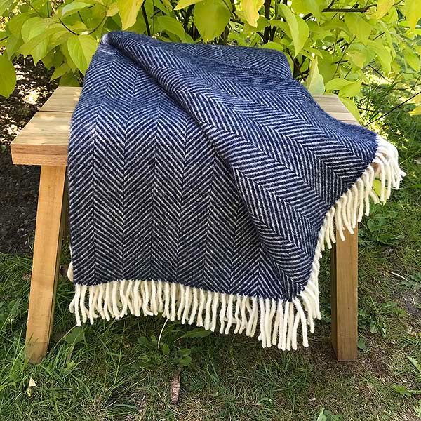 Navy Pure New Wool Herringbone Throw folded