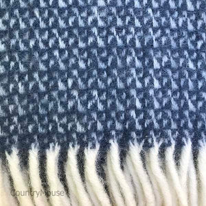 Navy and Grey Pure New Wool Throw detail