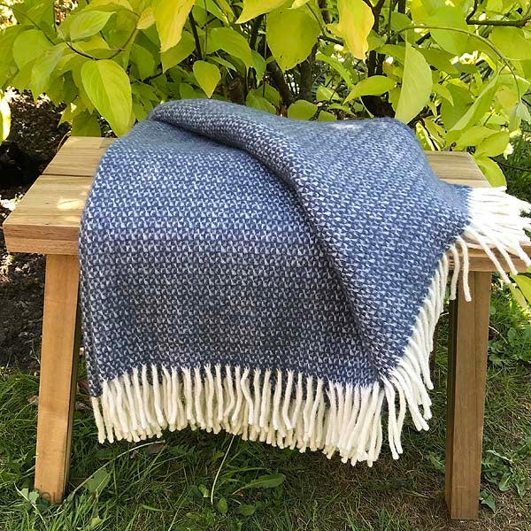 Navy and Grey Pure New Wool Throw folded