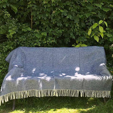 Load image into Gallery viewer, slate blue pure new wool throw open