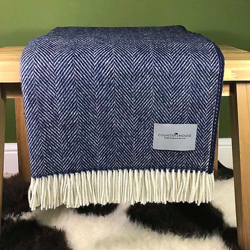 Navy herringbone merino wool throw