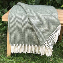 Load image into Gallery viewer, Olive Herringbone Pure New Wool Throw folded