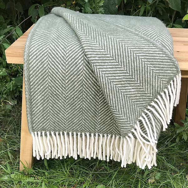 Olive Herringbone Pure New Wool Throw folded