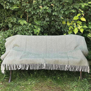 Olive Herringbone Pure New Wool Throw open