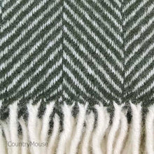 Load image into Gallery viewer, Olive Herringbone Pure New Wool Throw detail