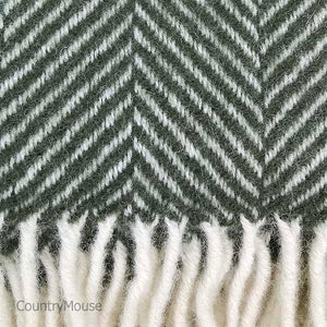 Olive Herringbone Pure New Wool Throw detail