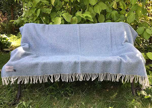 Petrol Stripe Wool Throw open