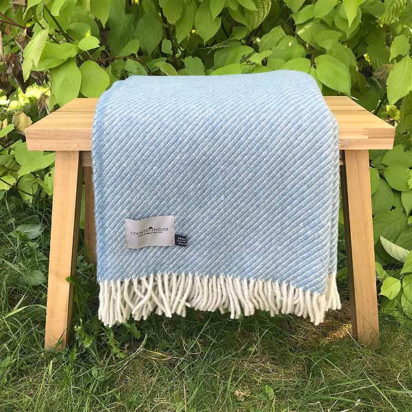 Petrol Stripe Wool Throw