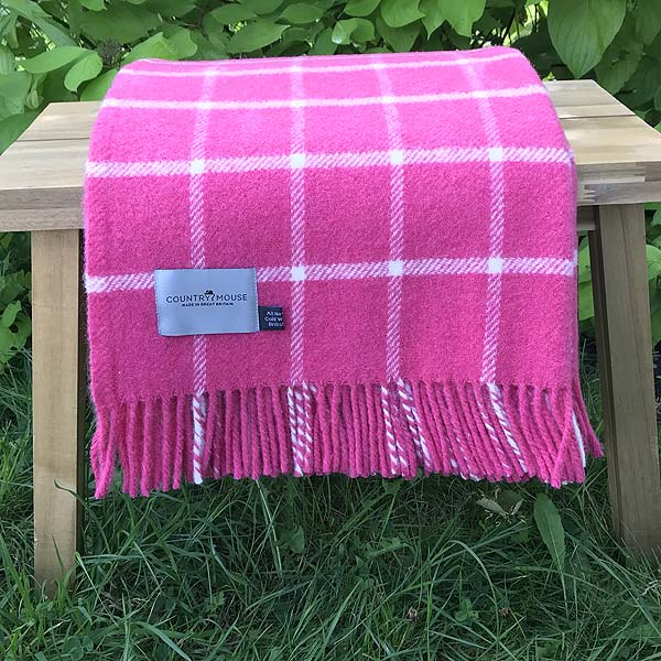 Hot Pink Pure New Wool Throw