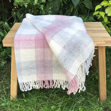 Load image into Gallery viewer, Pink  check Pure New Wool Throw