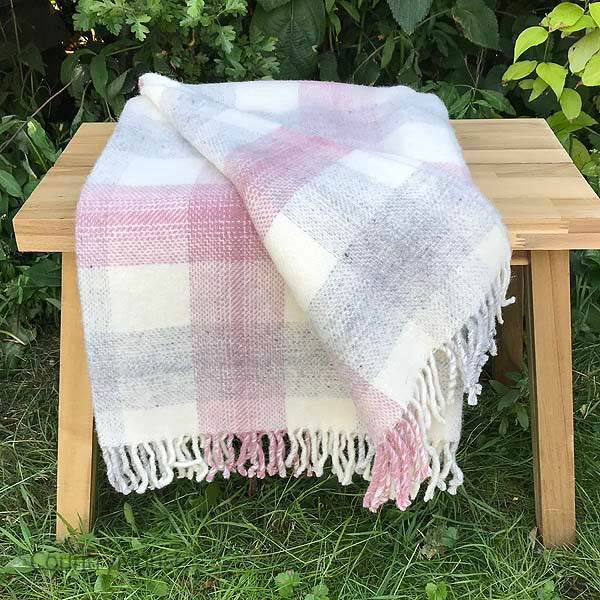 Pink  check Pure New Wool Throw