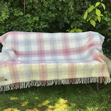 Load image into Gallery viewer, Pink check Pure New Wool Throw open