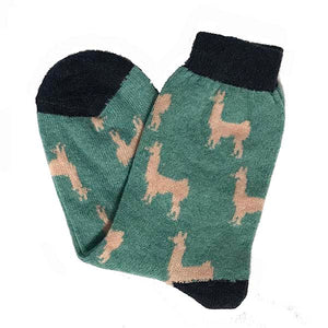 Pink and jade llama socks