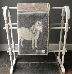 Grey and taupe pony wool blanket