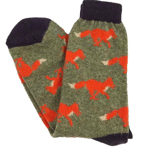 Mens sage running fox socks