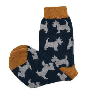 Short Wool Scottie Dog Socks