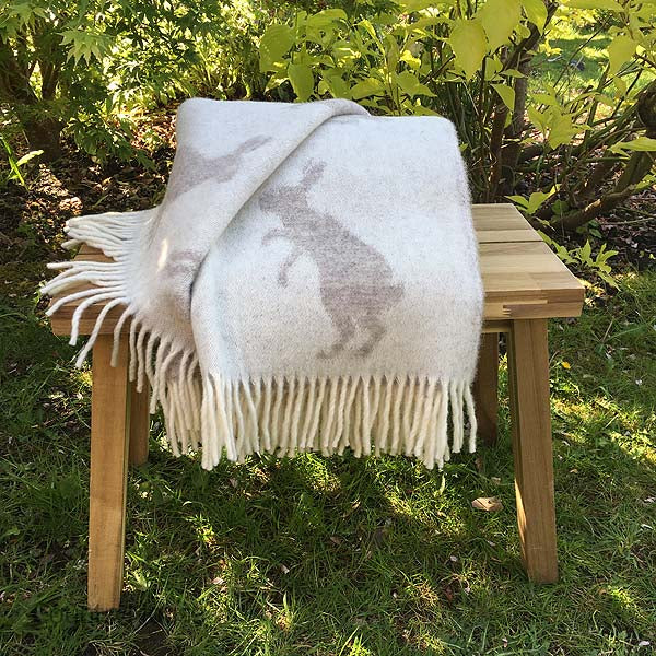 JJ Textiles Taupe Hare Wool Throw folded