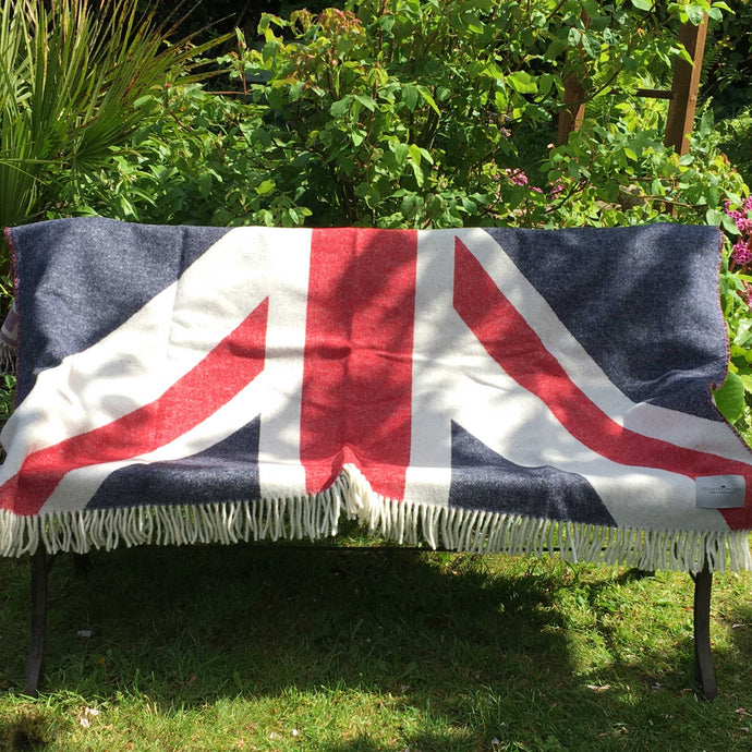 Country Mouse Union Jack Wool Throw on a bench