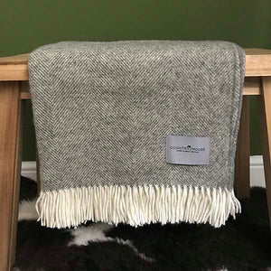 Vintage Grey Shetland herringbone wool throw