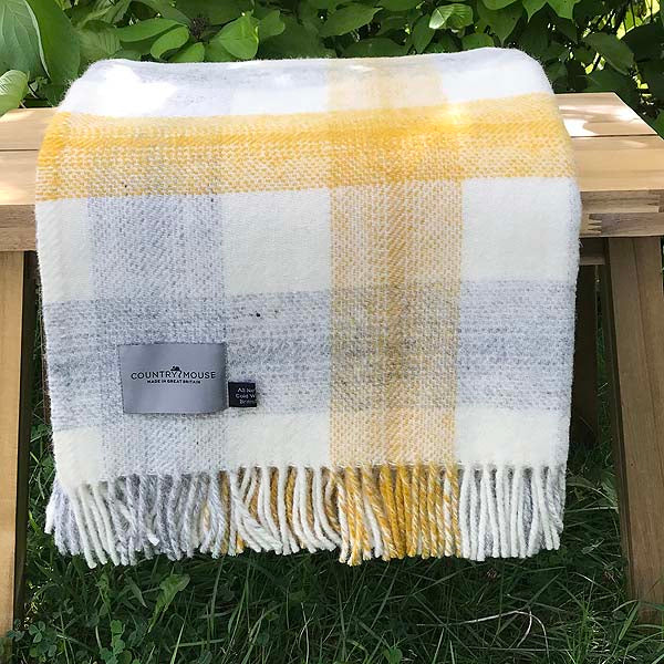 yellow check wool throw