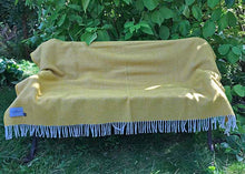 Load image into Gallery viewer, Yellow Stripe Wool Throw open