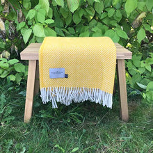 Load image into Gallery viewer, Yellow Stripe Wool Throw