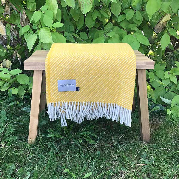 Yellow Stripe Wool Throw
