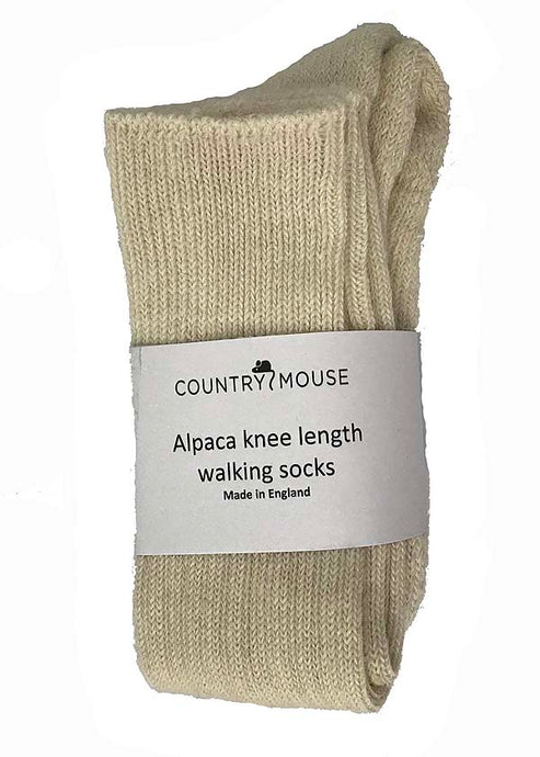 Cream knee length alpaca walking socks