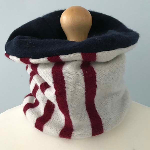 Cream stripe and navy cashmere neck warmer