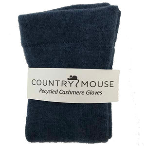 Denim cashmere gloves
