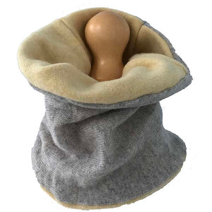 Dove grey and soft daffodil cashmere neck warmer