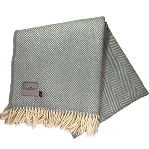 Duck Egg Herringbone Throw folded