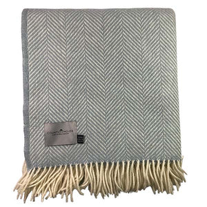 Duck Egg Herringbone Throw flat