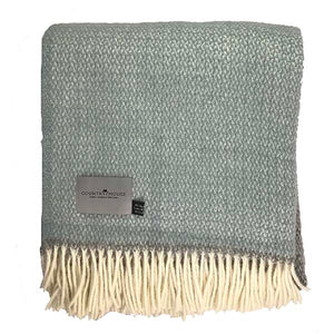 Duck egg and Grey Panel Pure New Wool Throw