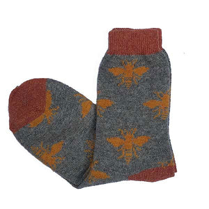 Short Wool Grey and Ginger Bee Socks