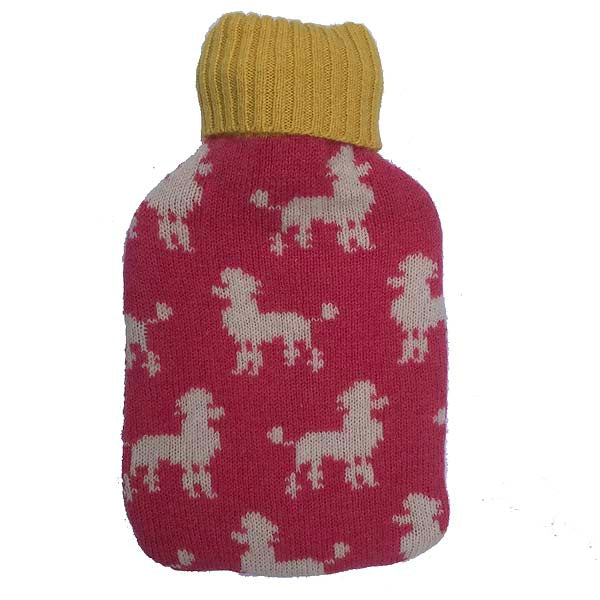 Mini Pink Poodle Hot Water Bottle