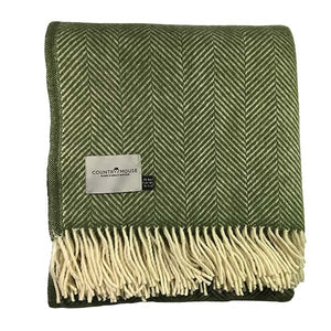 Olive Herringbone Pure New Wool Throw flat