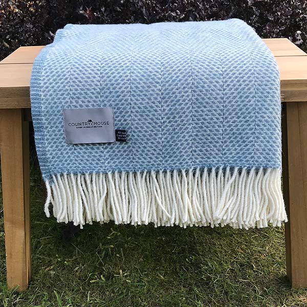 Petrol Beehive Blue Wool Throw